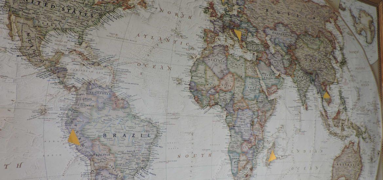 Carte du monde carnets de voyage