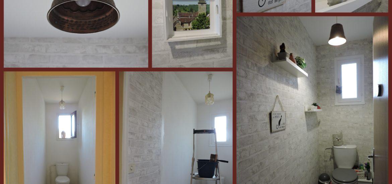 wc decoration briques blanc gris nature